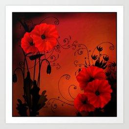 Poppy flowers, sunset Art Print