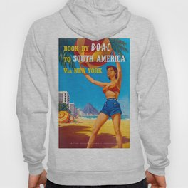 New York to South America - Vintage Airline Travel Poster Hoody