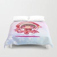 chibi Duvet Covers featuring Chibi Sakura by Neo Crystal Tokyo