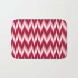 Bargello Pattern in Red and White Bath Mat