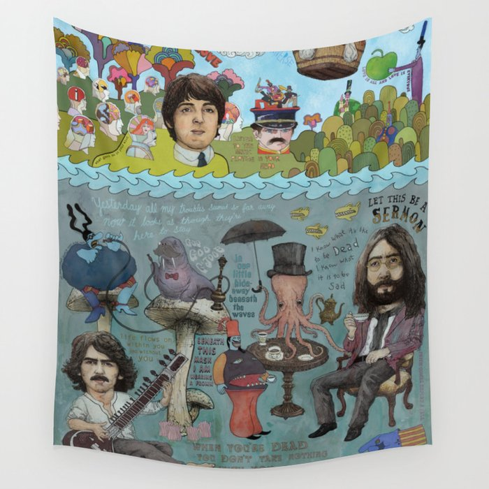 Lonely Hearts, Rubber Soul & Magical Yellow Submarine Tour Wall Tapestry