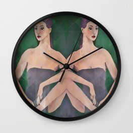 Mirrored Figure Study Wall Clock