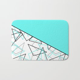 Abstract turquoise combo pattern . Bath Mat