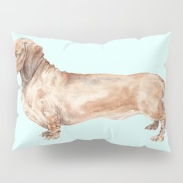 A long dog: Dachshund doxie puppy dog watercolor pet portrait Pillow Sham