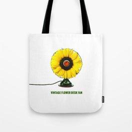 ORGANIC INVENTIONS SERIES: Vintage Flower Desk Fan Tote Bag