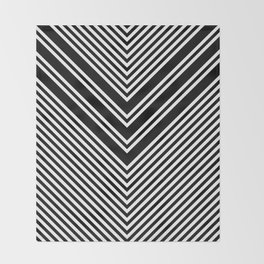 Back and White Lines Minimal Pattern No.1 Throw Blanket