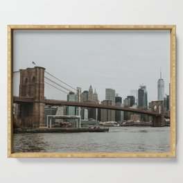 Skyline with Brooklyn Bridge from Pebble Beach | Colourful Travel Photography | New York City, America (USA) Serving Tray