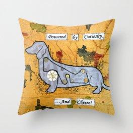 Dachshund - Powered by curiosity Throw Pillow