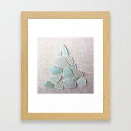 Sea Foam Sea Glass Christmas Tree #Christmas #seaglass Framed Art Print