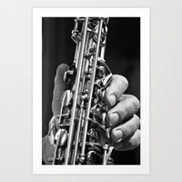 saxophone Art Prints featuring Saxophone by ramonaorganfineart