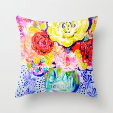 My Best Friend's Flowers Throw Pillow