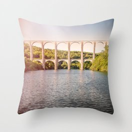 Old stone viaduct over large river between two hills sunset Throw Pillow