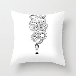 Snake of Love Illustration Throw Pillow