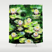 givenchy Shower Curtains featuring Eight Waterlilies by Michele Avanti