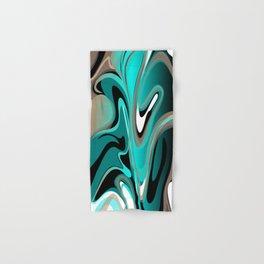 Liquify 2 - Brown, Turquoise, Teal, Black, White Hand & Bath Towel