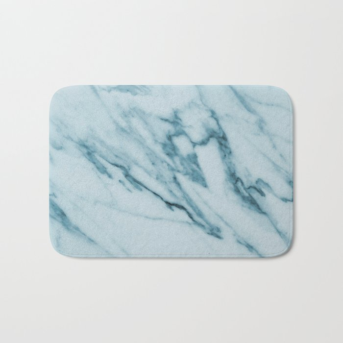 Streaked Teal Blue White Marble Bath Mat
