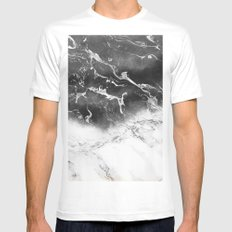 Modern black and white marble ombre watercolor color block Mens Fitted Tee MEDIUM White