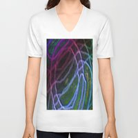 neon V-neck T-shirts featuring Neon by RingWaveArt