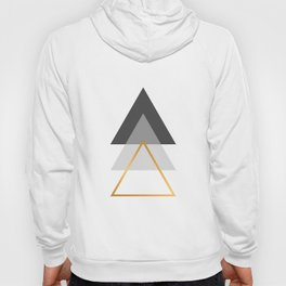 Triangles art, Black, white and gold Hoody