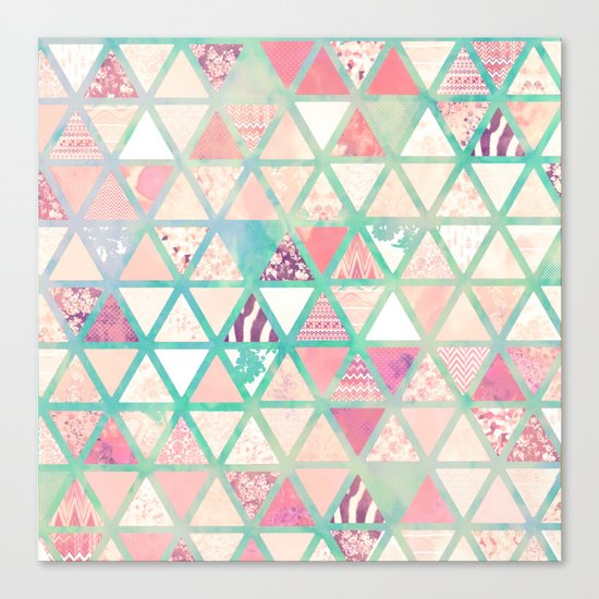 Pink Turquoise Abstract Floral Triangles Patchwork Canvas Print