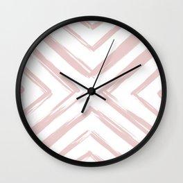 Minimalistic Rose Gold Paint Brush Triangle Diamond Pattern Wall Clock