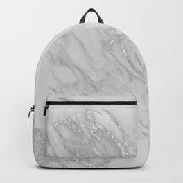 Marble Love Silver Metallic Backpack