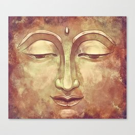 Relaxing Warm Buddha Watercolor Portrait Painting in Orange, Yellow, Green Canvas Print