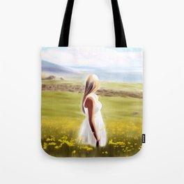 Girl in fields (digital painting) Tote Bag