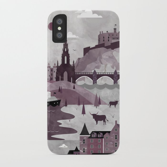 Edinburgh Travel Poster Illustration iPhone Case