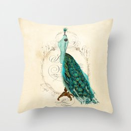 Peacock bustle mannequin Throw Pillow