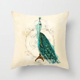 Peacock bustle mannequin Throw Pillow