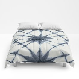 Shibori Starburst Indigo Blue on Lunar Gray Comforters
