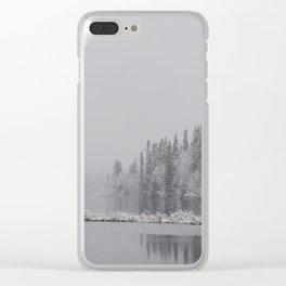 Lake In Winter Landscape Clear iPhone Case