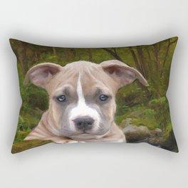 Pitbull puppy dog Rectangular Pillow