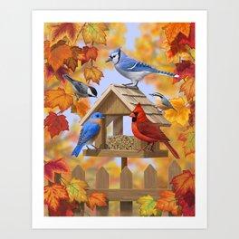 Autumn Bird Feeder Gathering Art Print