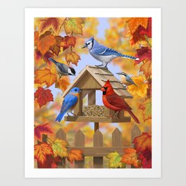 Autumn Bird Feeder Gathering Art Print