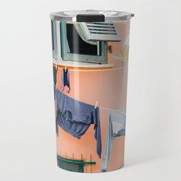 Photo of laundry in Portovenere, Cinque Terre Italy | Fine Art Colorful Travel Photography | Travel Mug