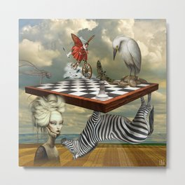 Zebra Upside Down Metal Print