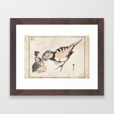 Geisha & Baby T-Rex Framed Art Print