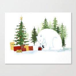 Christmas Polar Bear Canvas Print