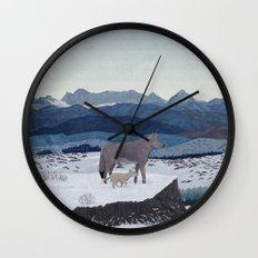 Wolfs Winter End Wall Clock