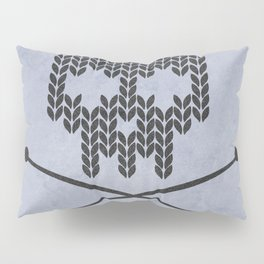 Knitted Skull (Black on Faded Periwinkle) Pillow Sham