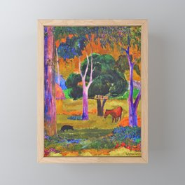 Paul Gauguin - Landscape With A Pig And A Horse - Digital Remastered Edition Framed Mini Art Print