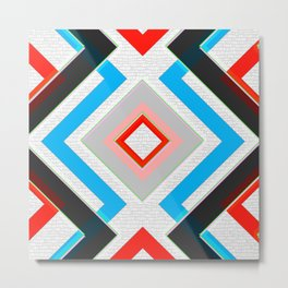 Black Blue Red Pink and White Small Diamond Textured Minimal Simple Pattern Home Goods Metal Print