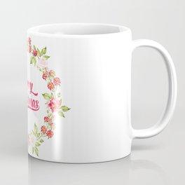 Merry Christmas Modern Typography Christmas Berries Wreath Coffee Mug