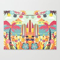 tiki Canvas Prints featuring Tiki by Claire Lordon