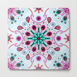 Pointillism mandala | Light blue, red and purple Metal Print