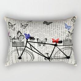 Bicycle and butterflies Rectangular Pillow