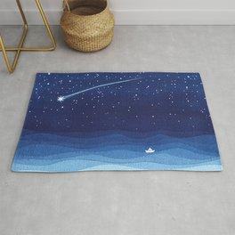 Falling star, shooting star, sailboat ocean waves blue sea Rug