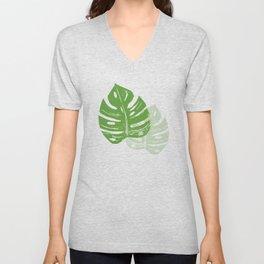 Linocut Monstera Leaf Pattern Unisex V-Neck